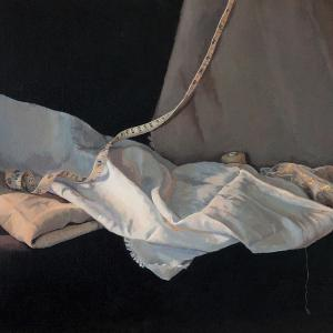 Linen, Lace and Tape, 2016, oil on linen, 51 x 41cm