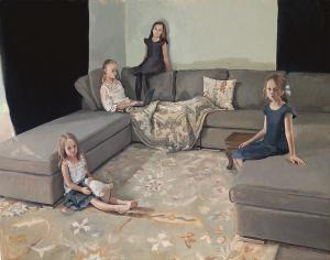 The Daughters of Colin Clark, 2017, oil on linen, 30 x 24""