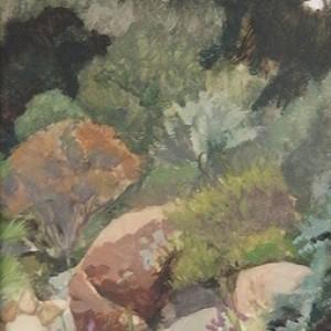Botanic Garden Rocks, 2016, oil on panel, 15 x 20cm