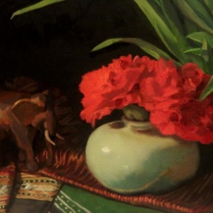 Carnations and Celadon, 2016, oil on linen