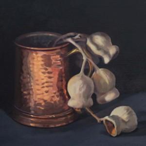 Copper Cup and Gumnuts, 2015, oil on board, 33 x 21cm