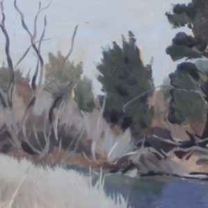 Coppins Crossing Winter, 2016, oil on panel, 15 x 20cm