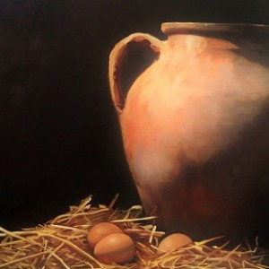 Eggs and Urn, 2015, oil on board, 41 x 51cm