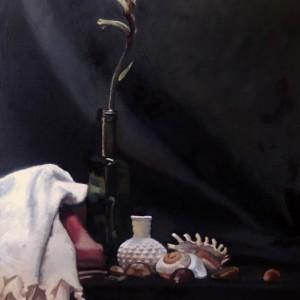 Kangaroo Paw and Shells, 2015, oil on canvas, 51 x 41cm