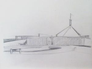 Parliament House, 2016, pencil on paper