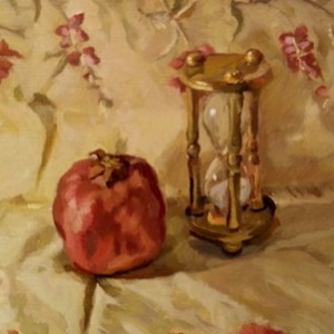 Pomegranate and Hourglass, 2014, oil on board, 33 x 21cm