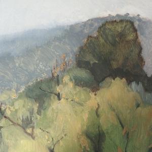 Rain on Black Mountain, 2017, oil on panel, 20 x 15cm
