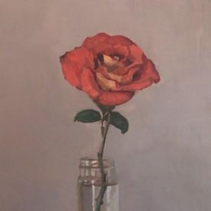 Rose in a Jar, 2016, oil on board, 20 x 30cm