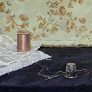 Thimble and Thread, 2014, oil on board 21 x 33cm