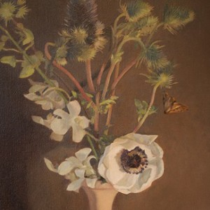 Thistle and Anemone, 2015, oil on linen, 51 x 41cm