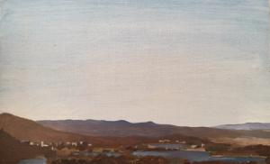 View from Dairy Farmers Hill, 2017, oil on panel, 20 x 30cm